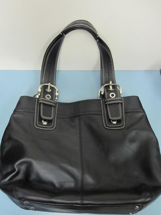 sd3281-coach-soho-black-leather-pleated-handbag-tote-bag-purse-excellent-2
